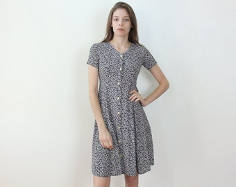 90s Floral Dress // Vintage Grunge Dress Black White Button Up - Extra small xxs/Petite