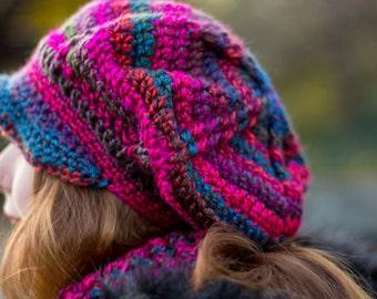 Slouchy Crocheted Newsboy Hat