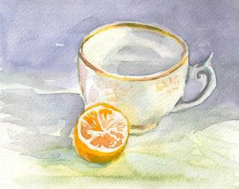 Lemon Art Print, food art, Kitchen decor, art kitchen, watercolor still life,  watercolor painting fruit, original watercolor print