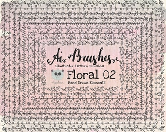 Pattern Brushes for Illustrator - Floral 02