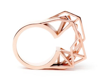 June -20% in Shop! Solitaire ring, 3D printed brass - rose gold plated