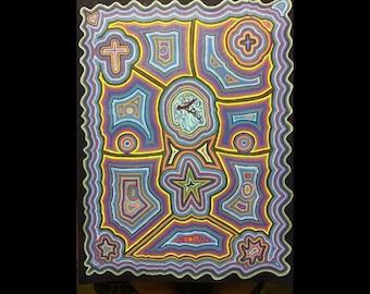 Angels Grace, Line Art, Abstract Art, Original Art, Wall Art, Canvas, Acrylic on Canvas, Hypnotic Art,
