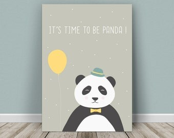Personalised baby print panda for a girl or boy