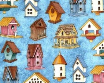 Cotton Fabric Quilting Bird Houses