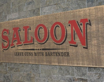 Saloon Vintage Wood Sign Painted Wooden Sign Mancave Sign Bar Sign Garage Sign Distressed Sign Personalized Sign Barnboard Sign Unique Gift