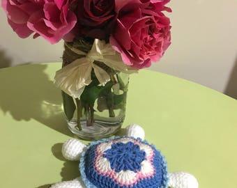 Handmade Crochet Tiny Turtle Rattle