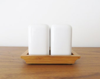 Vintage White Salt and Pepper Shakers with Wooden Tray