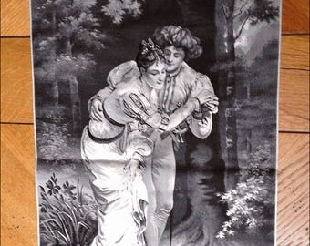 Belle Epoque in black and white silk tapestry representing a couple preparing to cross a river