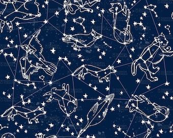 Constellations 2 Fabric by andrea_lauren