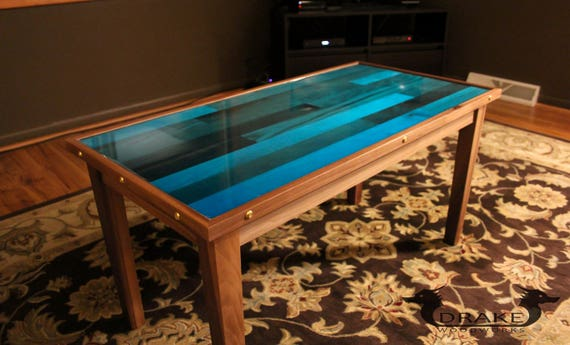ready to ship epoxy resin coffee table butcher block