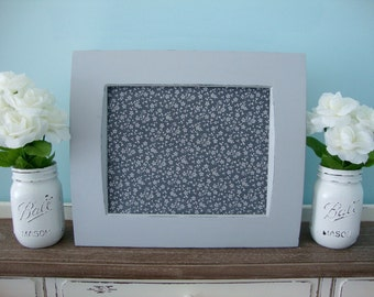 Magnetic Board, Framed Magnet Board, Upcycled Shabby Chic Frame, Floral Magnet Board, Gray Distressed Frame