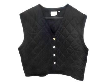 Vintage Reine Seide women vest waistcoat black 100% pure silk size M