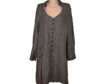 Vintage women dress 100% linen brown