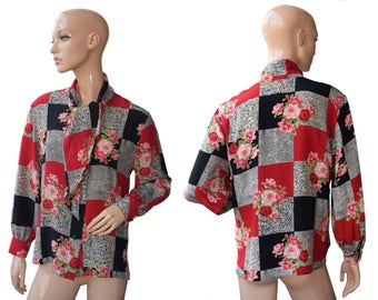 Vintage Peter Hahn Carat Exclusiv Collection women shirt top blouse flowers roses 100% silk