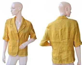 Vintage women blazer yellow golden