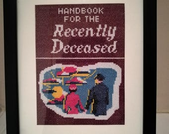 Beetlejuice inspired Handbook For The Recently Deceased framed cross stitch