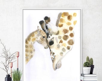 Original watercolor painting Giraffe Art print Giraffe Watercolor Giraffe painting Animal art Baby giraffe Animal Painting Animal watercolor