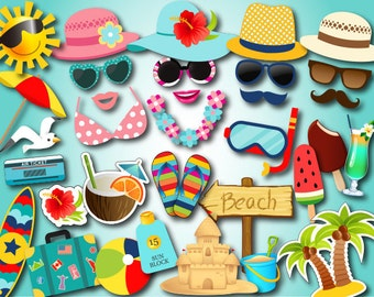 Printable Beach Party Photo Booth Props, Summer Party Photo Booth Props, Instant Download Hawaiian Photobooth Props, Pool Party Props 0074