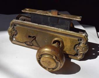 antique brass victorian knob set with key / antique brass door knob mortise back plate