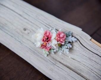 Pink hair flower, wedding hair flower, floral hair clip, wedding hair clip, flower hair clip