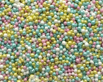 Sweet Summer Mix Glimmer Non Pareils, 100s and 1000s, Hundreds and Thousands Sugar Sprinkles, Cupcake or Cake Decorations