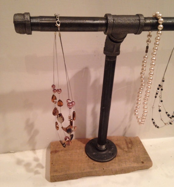 Jewelry Stand W/ Wood Base Necklace Bracelet Watch Holder