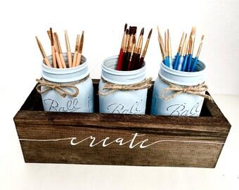Mason Jar Desk Organizer - Rustic Office Utensil Holder - Rustic Home Decor - Custom Jar Set