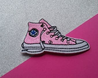 Pink shoe Iron On Patch/Clothing Patch/Applique/Embroidered Patch/Funny Patch/Jacket Patch/Hat Patch/Sewing Supplies/Father's Day