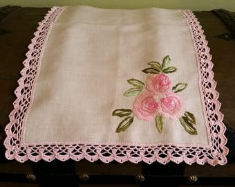 Romantic Rose table runner linen decoration picnic or garden table textile Hand made embroidery & lace !