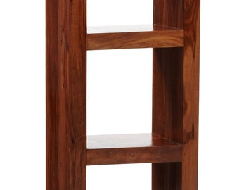 Cube 3 shelf narrow wooden bookcase - Walnut hardwood - Eco friendly