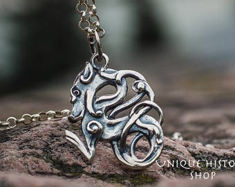 Celtic Wolf Pendant Sterling Silver Unique Wolf Amulet Animal Jewelry