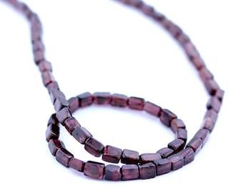 Garnet Beads 6 x 4mm Cube Smooth Round - 15 Inch Strand Beads