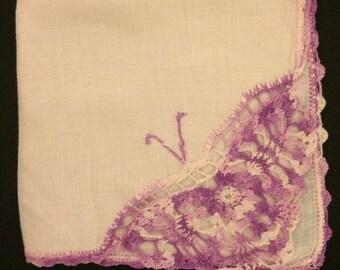 Vintage Crochet Monogram V Pink Linen Pink and Liliac Handkerchief