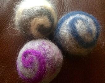 Set of 3 Swirly Wool Needle Felted Catnip Cat Toy Balls