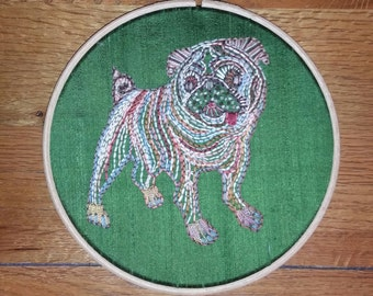 Made-to-Order Pug Dog Hand Embroidery