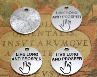 15pcs Charms silver tone Live Long And Prosper Vulcan Salute charm Pendants 20mm ASD2259