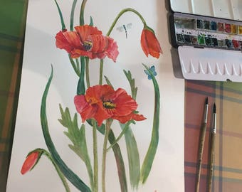 """Watercolor painting """"Poppies"""""""