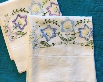 Embroidered Pillowcases Vintage Blue Floral Standard Size Hand stitched