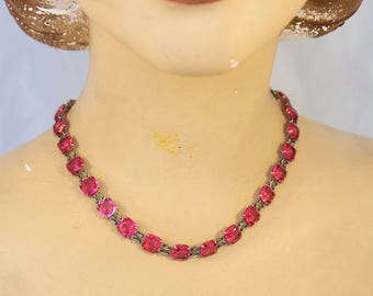 Vintage 1920s Pink Czech Glass Art Deco Necklace Choker