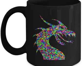 Cute Dragon Mug - Black with Colorful Beast - Fantasy and Mythical