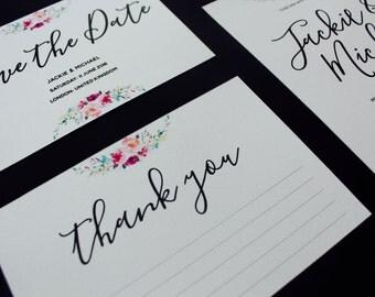 Floral wedding thank you card - Wedding thank you - Greeting card - Wedding card - Mr and Mrs card - Thank you card