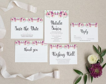 Pink Floral Wedding Invitation and RSVP - Rustic Wedding Invitation - Pretty Wedding Stationery - Spring Wedding Invitation