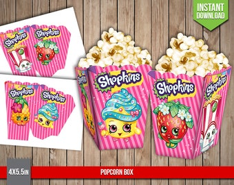 SHOPKINS Popcorn Box - Shopkins Popcorn Box Party Favors Table Printable Decoration - Digital PDF Files, Instant Download