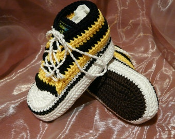 Individually crocheted baby sneakers, sneakers