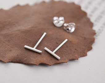 Thin Sterling Silver Bar Ear Studs Earrings Thin Line Ear Studs Thin Bar Earrings Minimalist Earrings