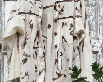 Vintage Painted Silk Blouse Size Small/Medium