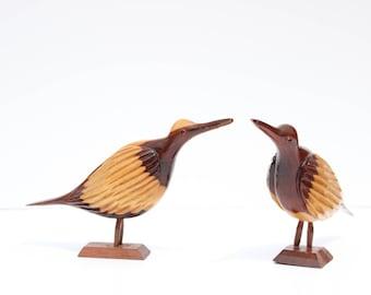 Pair of Wooden Bird Figurines