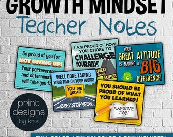 Growth Mindset Teaching Encouraging Notes • Growth Mindset • Teacher Notes • Growth Mindset Materials • Teaching Materials
