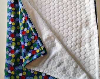 """""""Blue Pompom"""" blanket blanket with soft minky micro-printed corduroy of pure cotton perfect gift children baby crib bedding"""
