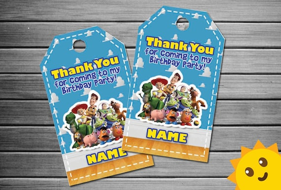 Toy Story Thank You Tags Birthday Favor Party Tag Printables From Sunnyshopinvitation